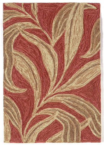 Liora Manne - Indoor and Outdoor Ravella Leaf Red Rug 1902/24 - Liora Manne