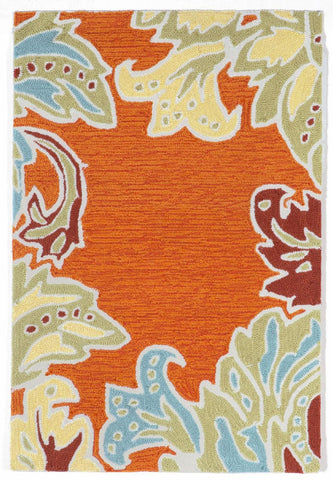 Liora Manne - Indoor and Outdoor Ravella Ornamental Leaf Border Orange Rug 1947/17 - Liora Manne