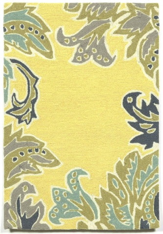 Liora Manne - Indoor and Outdoor Ravella Ornamental Leaf Border Yellow Rug 1947/09 - Liora Manne