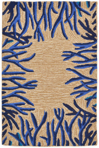 Liora Manne - Indoor and Outdoor Spello Coral Border Cobalt Rug 2173/03 - Liora Manne