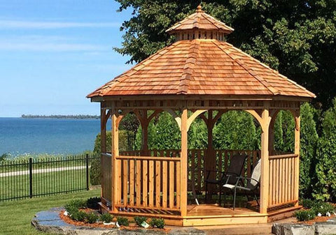 Outdoor Living Today - 12 ft Bayside Octagon Gazebo- Panelized (Includes 2 Tier Cupola) - Outdoor Living Today