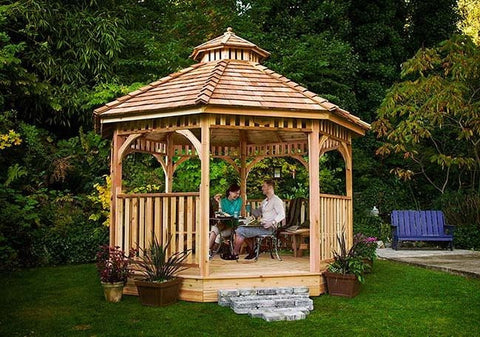 Outdoor Living Today - BAYSIDE12 - 12 ft Bayside Octagon Gazebo- Panelized  (Includes 2 Tier Cupola)