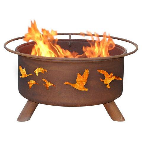 Patina Products - F114 Wild Ducks Fire Pit, Natural Patina Rust Finish - Patina Products