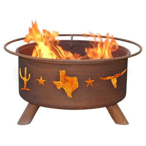 Patina Products - F115 Lone Star Texas Fire Pit, Natural Patina Rust Finish - Patina Products