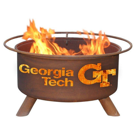 Patina Products - F212 Georgia Institute of Technology, Georgia Tech Fire Pit, Natural Patina Rust Finish - Patina Products
