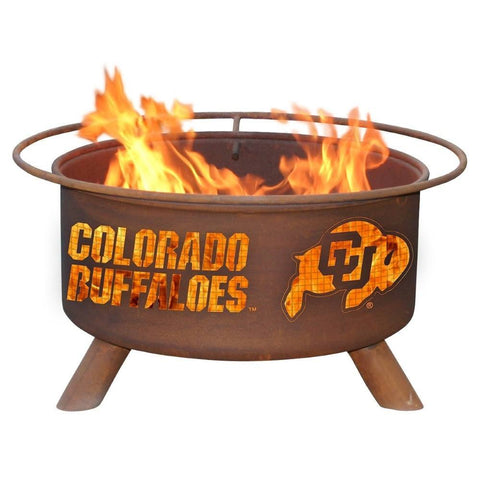 Patina Products - F223 University of Colorado, Colorado Buffaloes Fire Pit, Natural Patina Rust Finish - Patina Products
