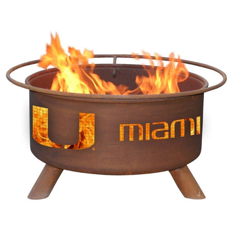 Patina Products - F225 University of Miami, Miami Hurricanes Fire Pit, Natural Patina Rust Finish - Patina Products