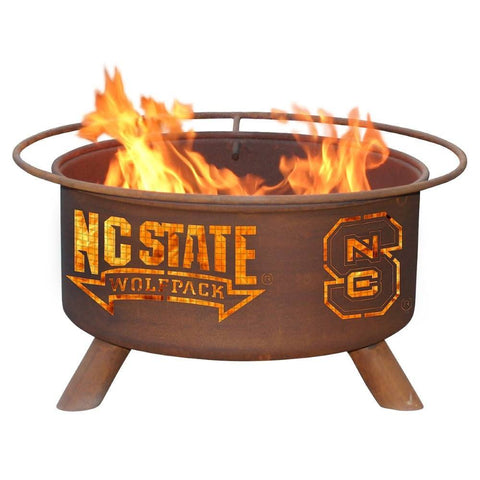 Patina Products - F237 North Carolina State, NC State Wolf Pack Fire Pit, Natural Patina Rust Finish - Patina Products