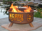 Patina Products - Patina Products - F237 North Carolina State, NC State Wolf Pack Fire Pit, Natural Patina Rust Finish -  - Outdoor Living  - Yard Outlet - 3