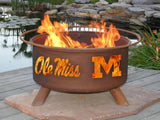 Patina Products - F242 University of Mississippi Rebels Fire Pit, Ole Miss Fire Pit, Natural Patina Rust Finish - Patina Products