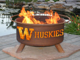 Patina Products - F249 University of Washington Fire Pit, Washington Huskies, Natural Patina Rust Finish - Patina Products