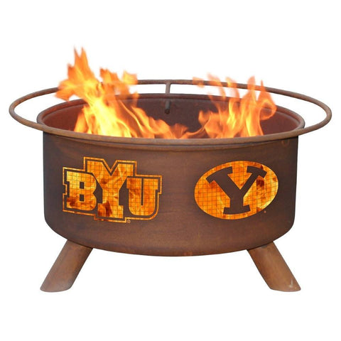 Patina Products - F400 BYU Fire Pit, Brigham Yound University Cougars, Natural Patina Rust Finish - Patina Products