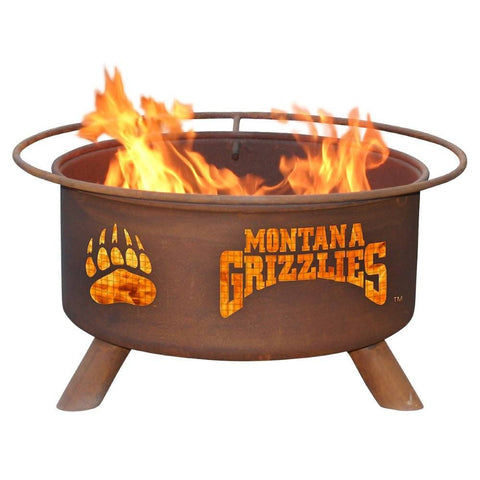 Patina Products - F411 University of Montana Fire Pit, University of Montana Grizzlies, Natural Patina Rust Finish - Patina Products