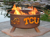 Patina Products - F428 TCU Fire Pit, Texas Christian University Horned Frogs, Natural Patina Rust Finish - Patina Products