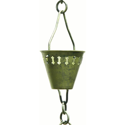 Patina Products - R250 Verdigris Shade Cup 8.5 Foot Rain Chain - Patina Products