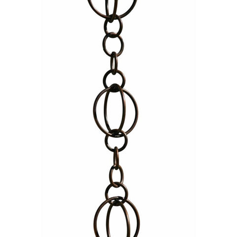 Patina Products - R256 Antique Copper Life Circles 8.5 Foot Rain Chain - Patina Products