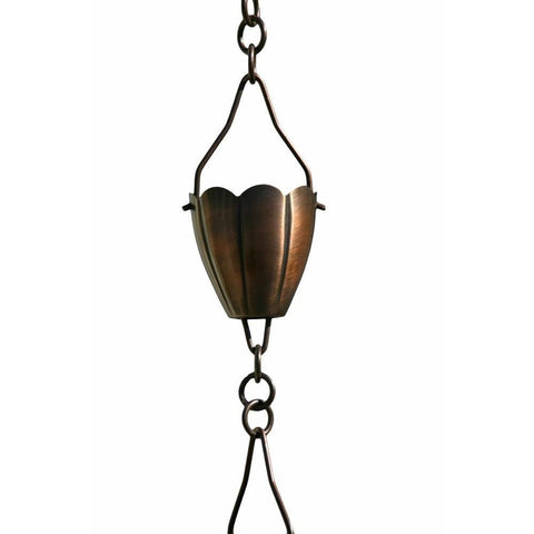 Patina Products - R260 Antique Copper Flower Cup 8.5 Foot Rain Chain - Patina Products
