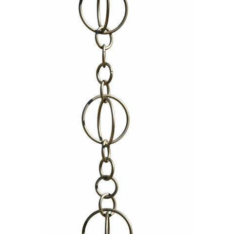 Patina Products - R263 Brushed Stainless Life Circles 8.5 Foot Rain Chain - Patina Products
