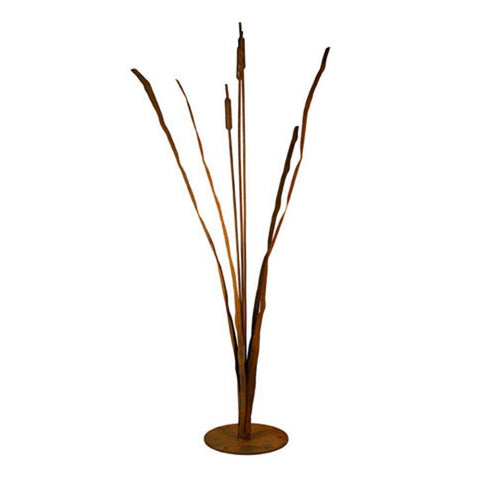 Patina Products - S660 Cattails Garden Sculpture, Solid Steel, Natural Patina Finish - Patina Products