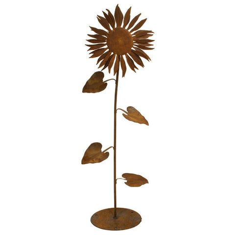 Patina Products - S664 Small Sun Flower Garden Sculpture, Solid Steel, Natural Patina Finish - Patina Products