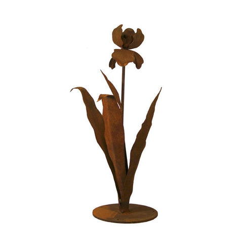 Patina Products - S671 Small Iris Garden Sculpture (Cynthia), Solid Steel, Natural Patina Finish - Patina Products
