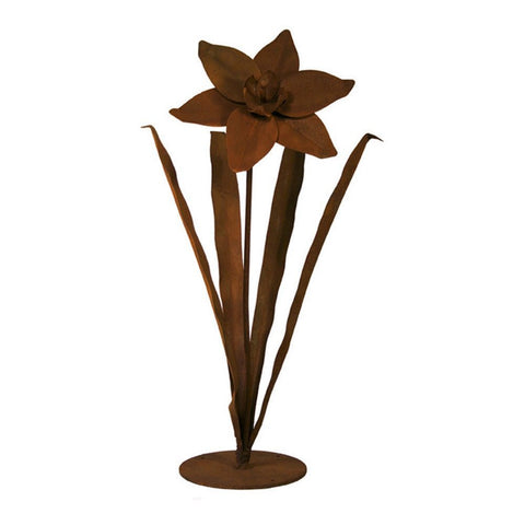 Patina Products - S672 Small Daffodil Garden Sculpture (Amber), Solid Steel, Natural Patina Finish - Patina Products