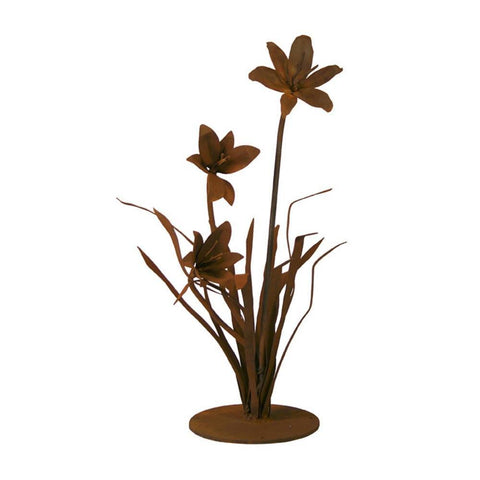 Patina Products - S675 Small Lily (Caroline), Solid Steel, Natural Patina Finish - Patina Products