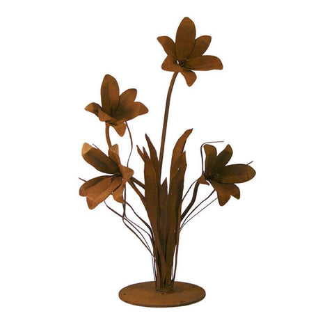 Patina Products - S676 Large Lily Garden Sculpture (Emma), Solid Steel, Natural Patina Finish - Patina Products