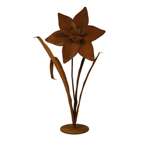 Patina Products - S678 Large Daffodil Garden Sculpture (Cassidy), Solid Steel, Natural Patina Finish - Patina Products