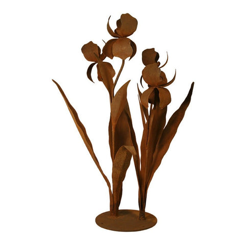 Patina Products - S679 Large Iris Garden Sculpture (Mary), Solid Steel, Natural Patina Finish - Patina Products