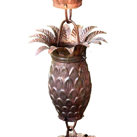 Rainchains - Rainchains - 2960 Pineapple Themed Copper Rain Chain - Standard 8.5 - Outdoor Living  - Yard Outlet - 1