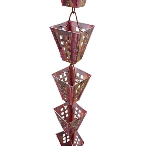 "Rainchains - Rainchains - 3122-AC Arts and Crafts ""Aged"" Copper Square Cups Rain Chain - Standard 8.5 - Outdoor Living  - Yard Outlet - 1"
