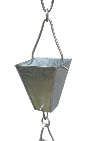 Rainchains - 3122-GALV Galvanized Steel Tapered Square Cups Rain Chain - Rainchains