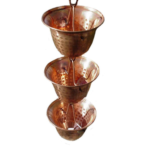 Rainchains - Rainchains - 3124 Pure Copper Bells Rain Chain - Standard 8.5 - Outdoor Living  - Yard Outlet - 1