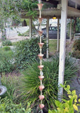 Rainchains - Rainchains - 3126-1 Kanji Cups #1, Large Flower Design, Pure Copper -  - Outdoor Living  - Yard Outlet - 4