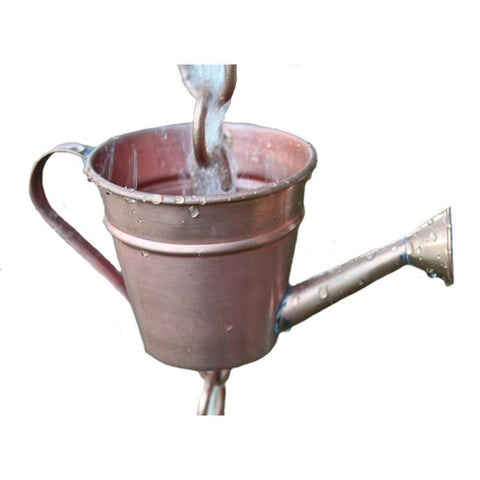 Rainchains - Rainchains - 4242 Copper Watering Can Rain Chain, Water Can Cups, Garden Theme - Standard 8 - Outdoor Living  - Yard Outlet - 1