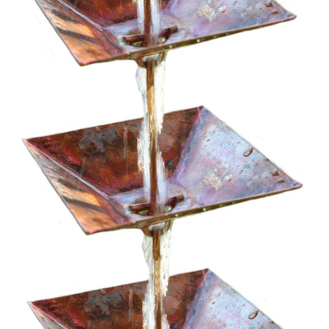 "Rainchains - Rainchains - 4297 Pure Copper ""Pre-Aged"" Pagoda Cups Rain Chain, Square Cups - Standard 8 - Outdoor Living  - Yard Outlet - 1"