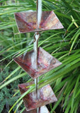 "Rainchains - Rainchains - 4297 Pure Copper ""Pre-Aged"" Pagoda Cups Rain Chain, Square Cups -  - Outdoor Living  - Yard Outlet - 2"