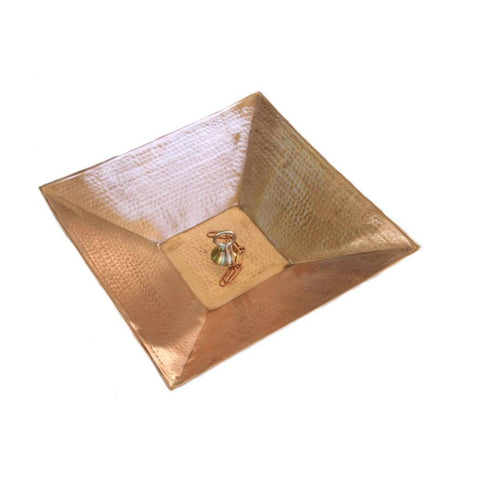 Rainchains - Rainchains - 4298-A Hammered Square Copper Dish with Attachment Loop -  - Outdoor Living  - Yard Outlet