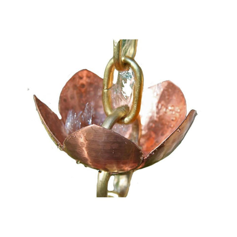 Rainchains - 5225-5  Tara Flower Copper and Brass Rain Chain - Rainchains