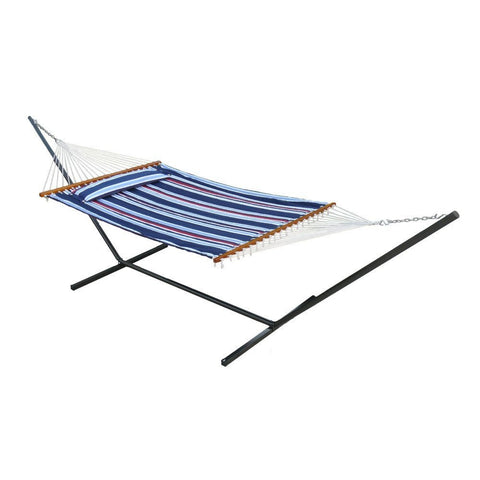 Smart Living Home and Garden - Smart Living Home and Garden, Navy Stripe & Solid Santorini Premium Reversible Double Hammock -  - Outdoor Living  - Yard Outlet