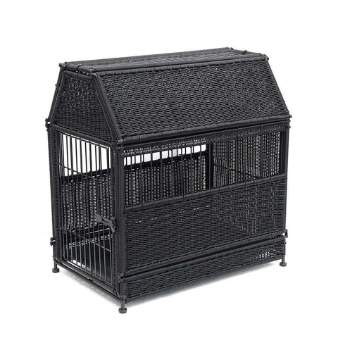 Large Black Roof Top Wicker Dog House - Jeco
