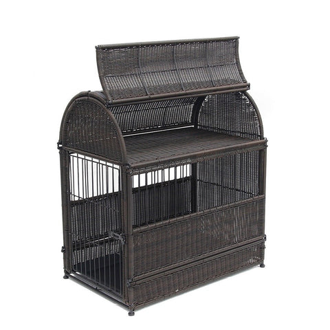 Large Espresso Round Top Wicker Dog House - Jeco