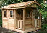 Outdoor Living Today - SP69 6x9 Sunflower Playhouse - 3 Functional Window / 3ft Cedar Deck Porch - Outdoor Living Today