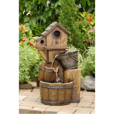 Bird House Outdoor Water Fountain Without Light - Jeco