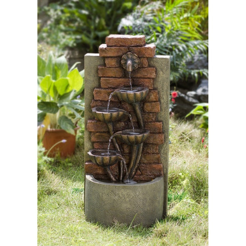 Cascading Bowls Wall Indoor or Outdoor Water Fountain - Jeco
