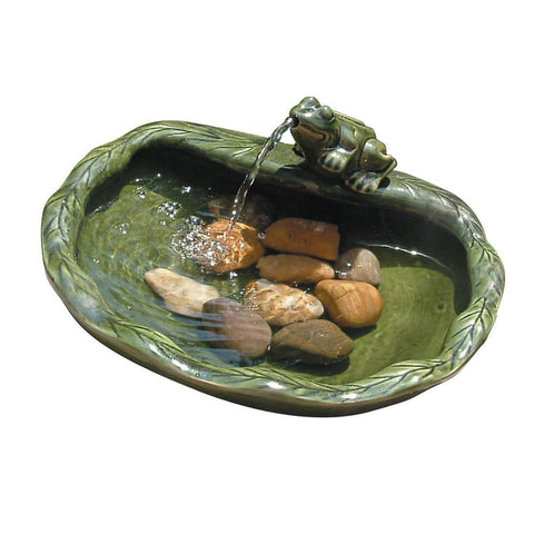 Smart Living Home and Garden - Ceramic Solar Frog Fountain -  - Water Gardening  - Yard Outlet