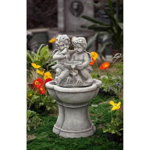 Cherub Water Fountain with LED Light - Jeco