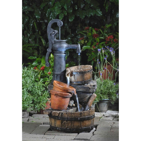 Classic Water Pump Fountain With Led Light - Jeco