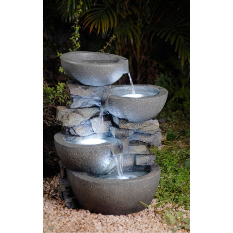 Modern Bowls Fountain with Led Lights - Jeco